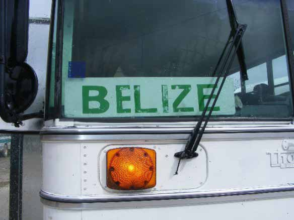 Bus back to Belize from the Benque Border Crossing in Belize.