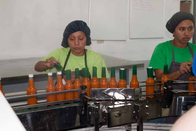 assembly line marie sharp's hot sauce belize