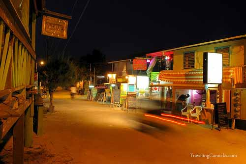 The Main Street at Night - Caye Caulker, Belize