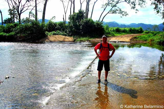 Crossing Water on Hike to Actun Tunichil Muknal, Belize