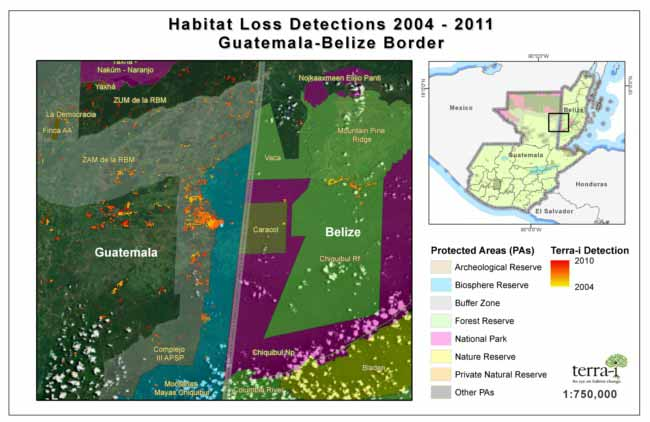 Image Tracking forest loss on the Guatemala-Belize border