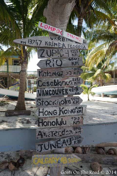 Calgary Vancouver sign in Caye Caulker