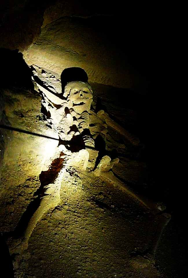 skeleton in belize's atm cave