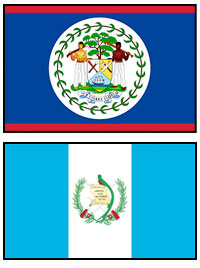 Belize and Guatemala's flags.