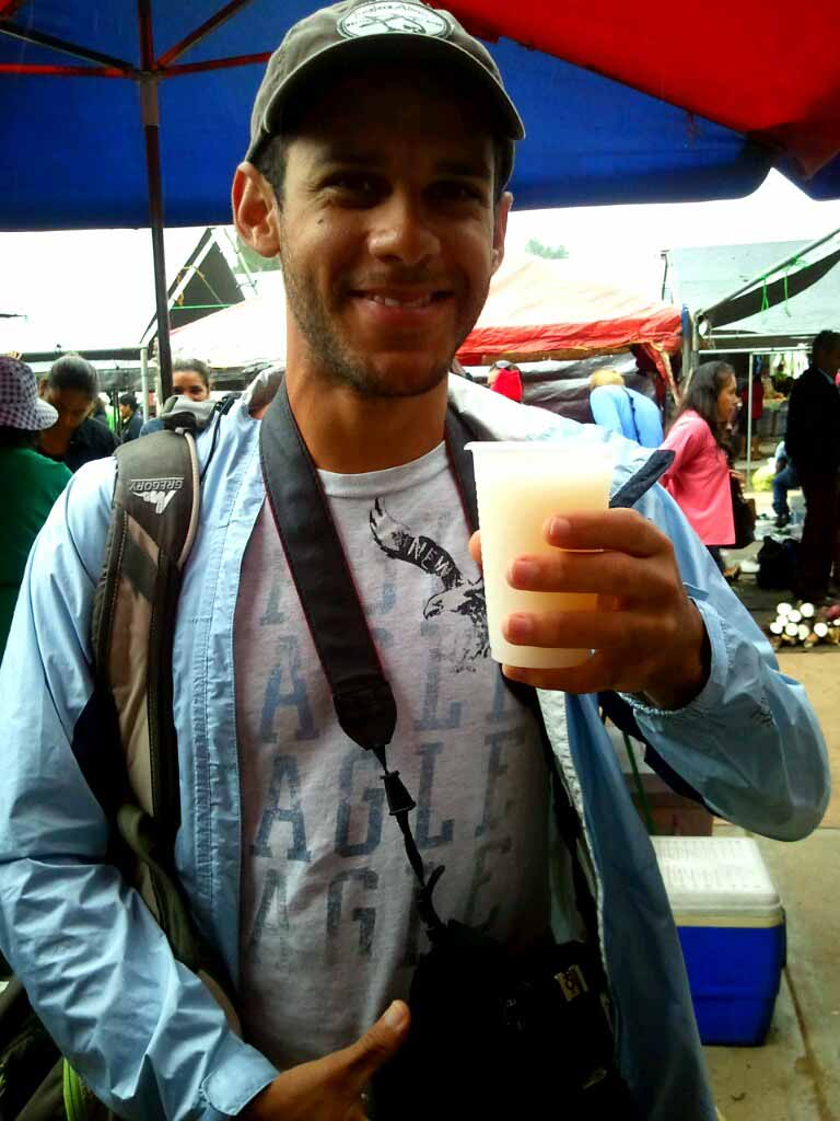 Drinking soursop juice in Belize