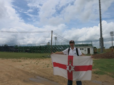At the national football stadium in Belmopan, Belize.