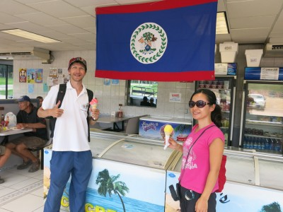 Panny and I with our ice creams at WDs, Spanish Lookout, Belize.
