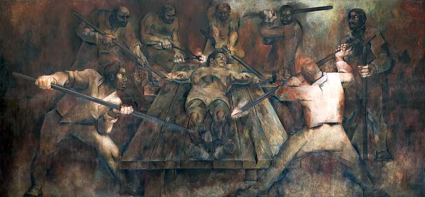 The torture of Jacinto Canek, leader of the Maya rebellion of 1761. Painting by Fernando Castro Pacheco
