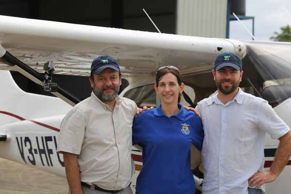 Passengers on the inaugural flight of the Central American Megaflyover: Victor Hugo Ramos of WCS; Ani Cuevas of U.S. Fish and Wildlife Service; and Jeremy Radachowsky of WCS. Photo ©WCS.
