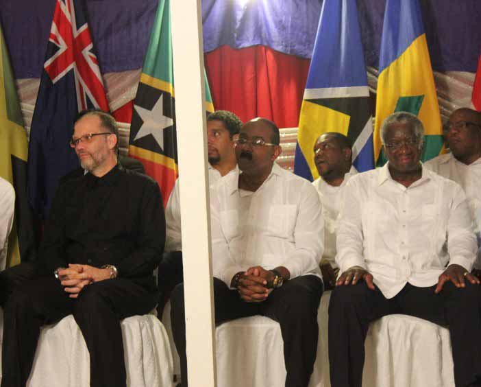 From left, CARICOM Secretary-General, Ambassador Irwin LaRocque, Prime Minister of Antigua and Barbuda, the Hon. Gaston Browne, and Prime Minister of Barbados, the Rt Hon. Freundel Stuart at the opening ceremony Monday evening.