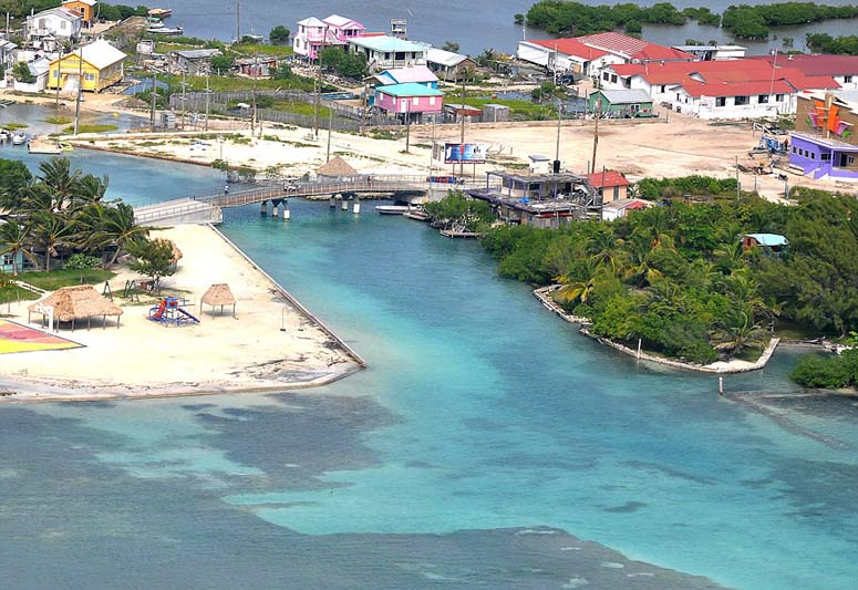 Aerial view of the bridge and the cut on Ambergris Caye