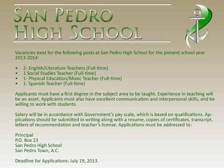 Vacancies at San Pedro High - Ambergris Caye Belize ...