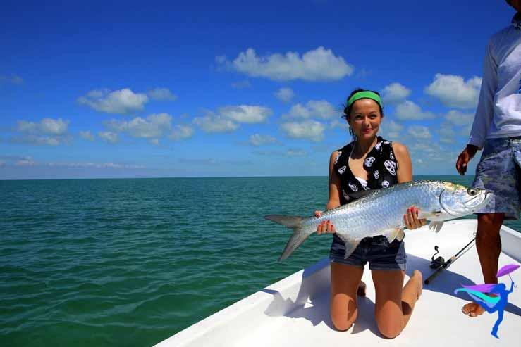 GoFish Belize girl caught huge tarpon fish