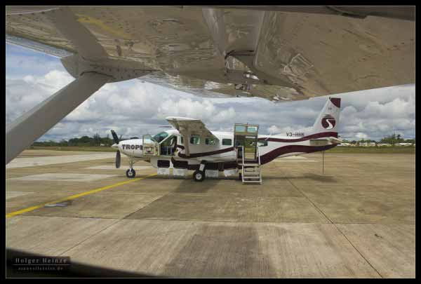 Stop at the international airport. Tropic air's Cessna Caravan
