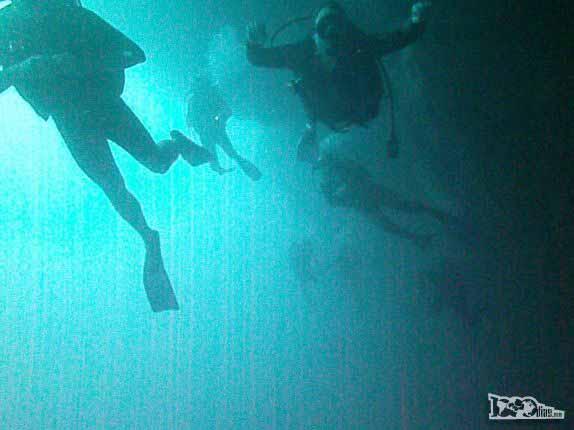 Muitos mergulhadores no Blue Hole, na grande barreira de corais de Belize