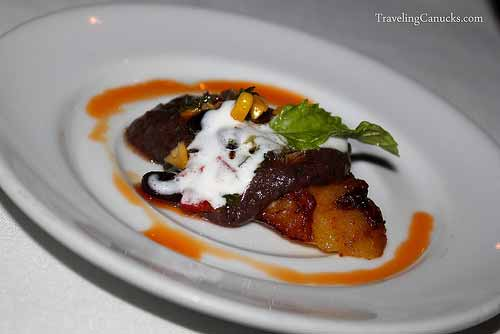 Grilled Plantain with Black Beans Sauce