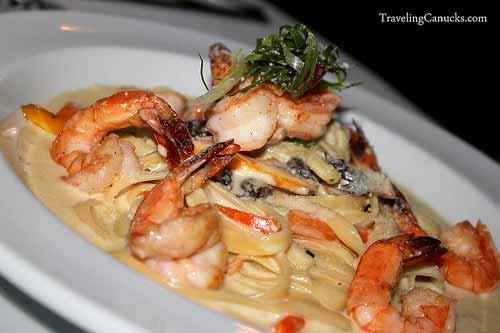 Pasta Primavera Alfredo with Fresh Grilled Prawns