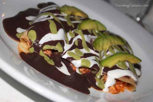 Chicken Enchiladas with Avocado and Black Bean Suace
