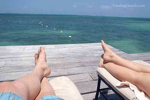 Sun bathing on private dock in the Caribbean Sea