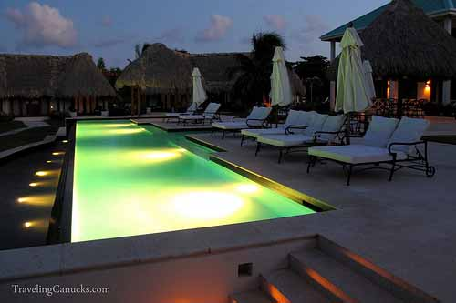 Infinity pool at night, Victoria House, Belize