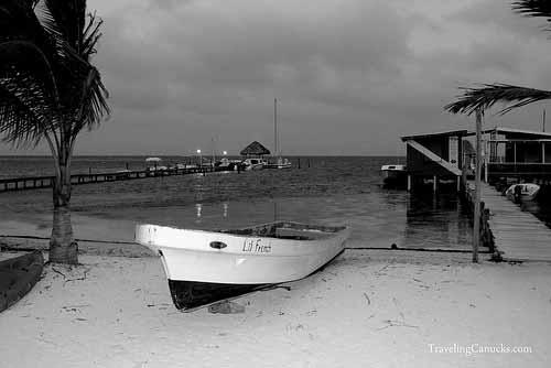 Boat Caye Caulker B&W