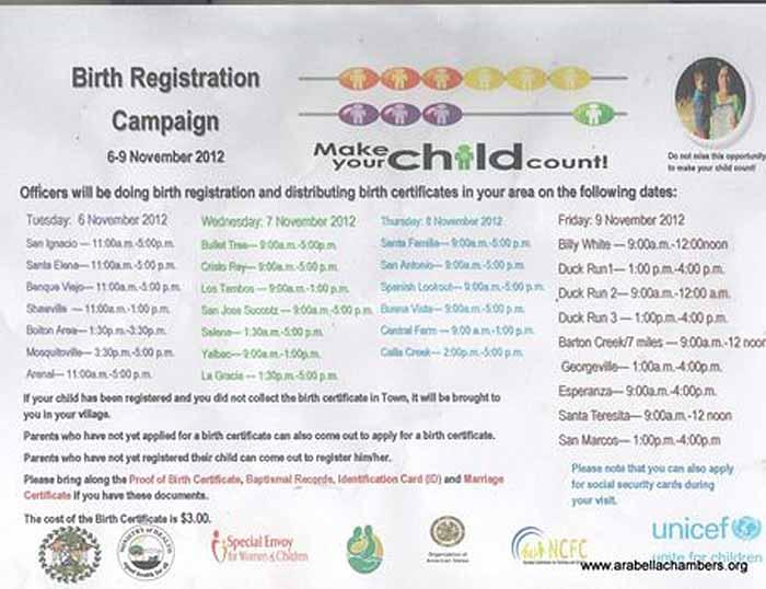 Cayo Birth Registration Campaign Ambergris Caye Belize Message Board