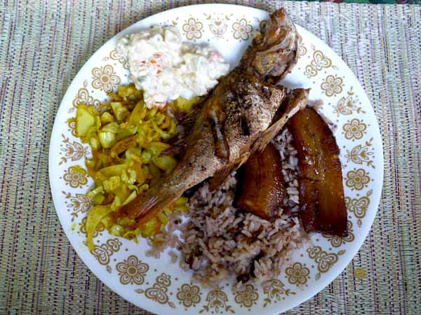 Delicious Belizean Fried Snapper Plate