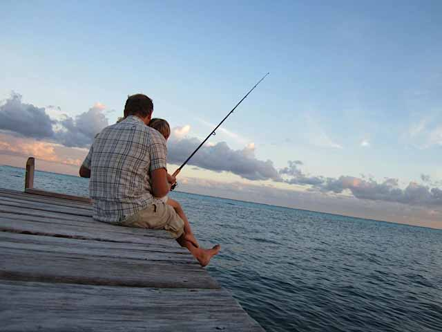 Fishing off the docks in Ambergris Caye