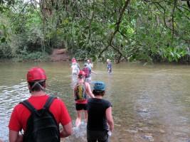 A 45 min jungle hike crosses the river 3 times,