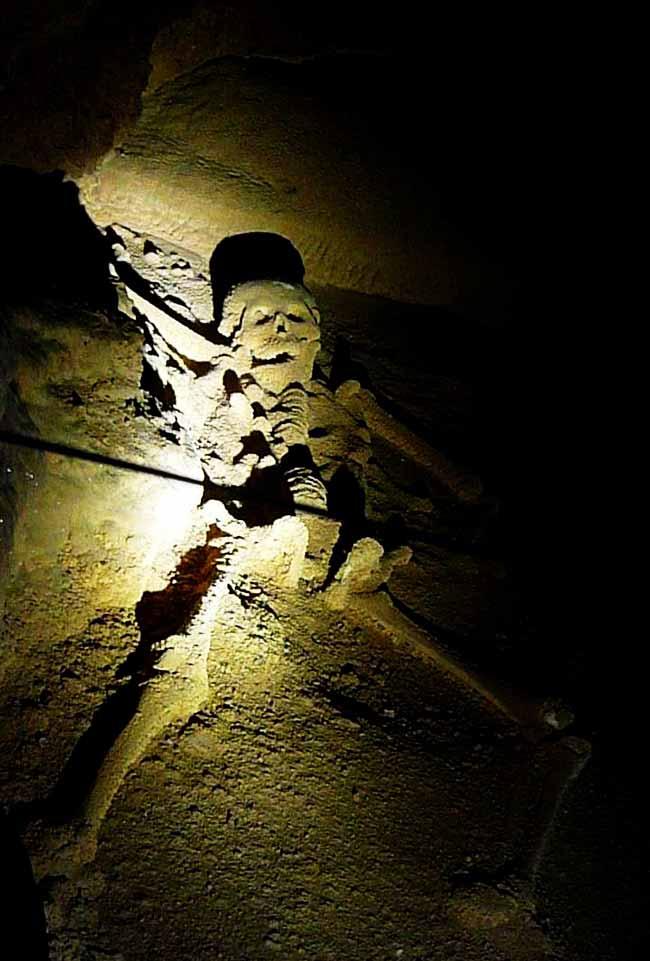 skeleton in belize's atm cave