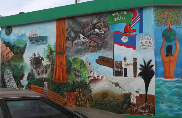 depicts colonialism in Belize (British Honduras), hurricane damage, mayan civilization, death by machete