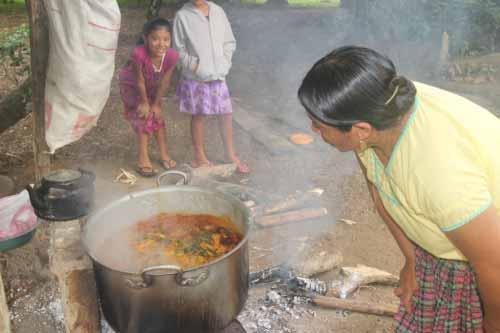 The caldo is prepared in an enormous cauldron.