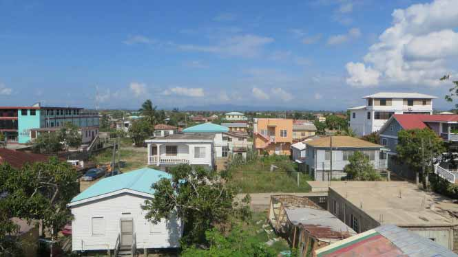 The view from the roof of Chaleanor Hotel in Dangriga.