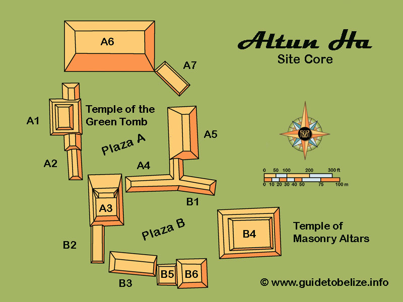 Altun Ha Map    www.guidetobelize.info
