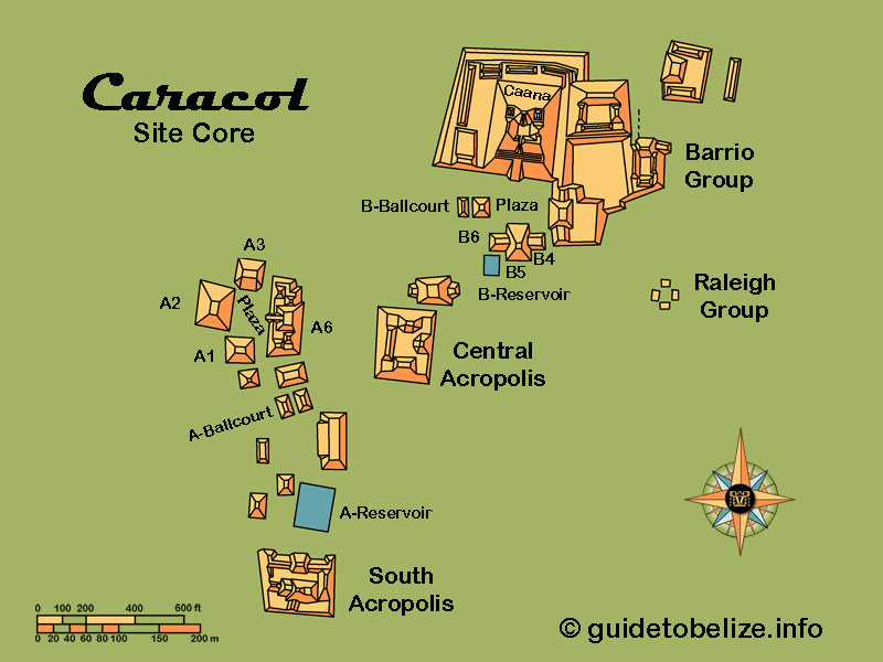 Caracol Map   www.guidetobelize.info