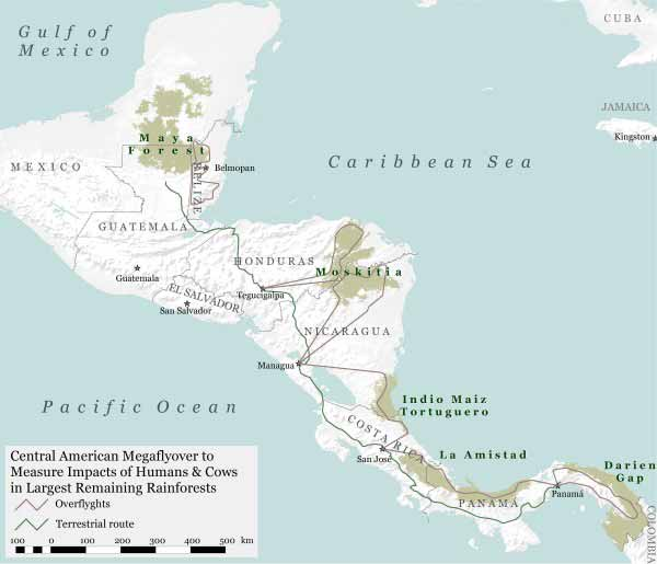 Map of Central American Megaflyover. Photo ©WCS.
