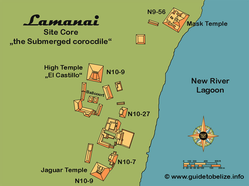 Lamanai Map   www.guidetobelize.info
