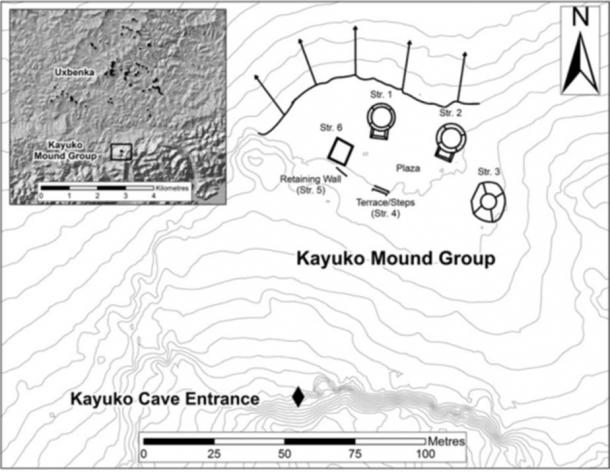 LiDAR-based map showing the ritual complex (Kayuko Naj Tunich and the Kayuko Mound Group); inset shows its proximity to the Uxbenká site core