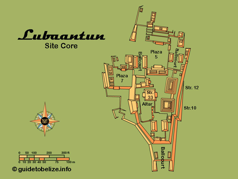 Lubaantun Map   www.guidetobelize.info