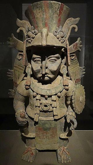 Incense burner in the form of the Maya rain god, Chac.