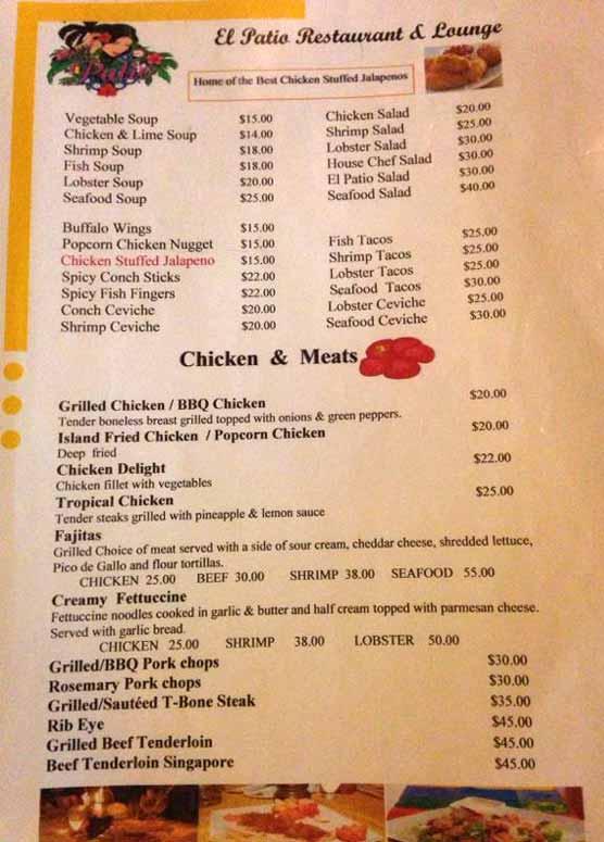 El Patio Restaurant U0026 Lounge Menu All Prices Belizean Dollars, $2BZu003d$1US