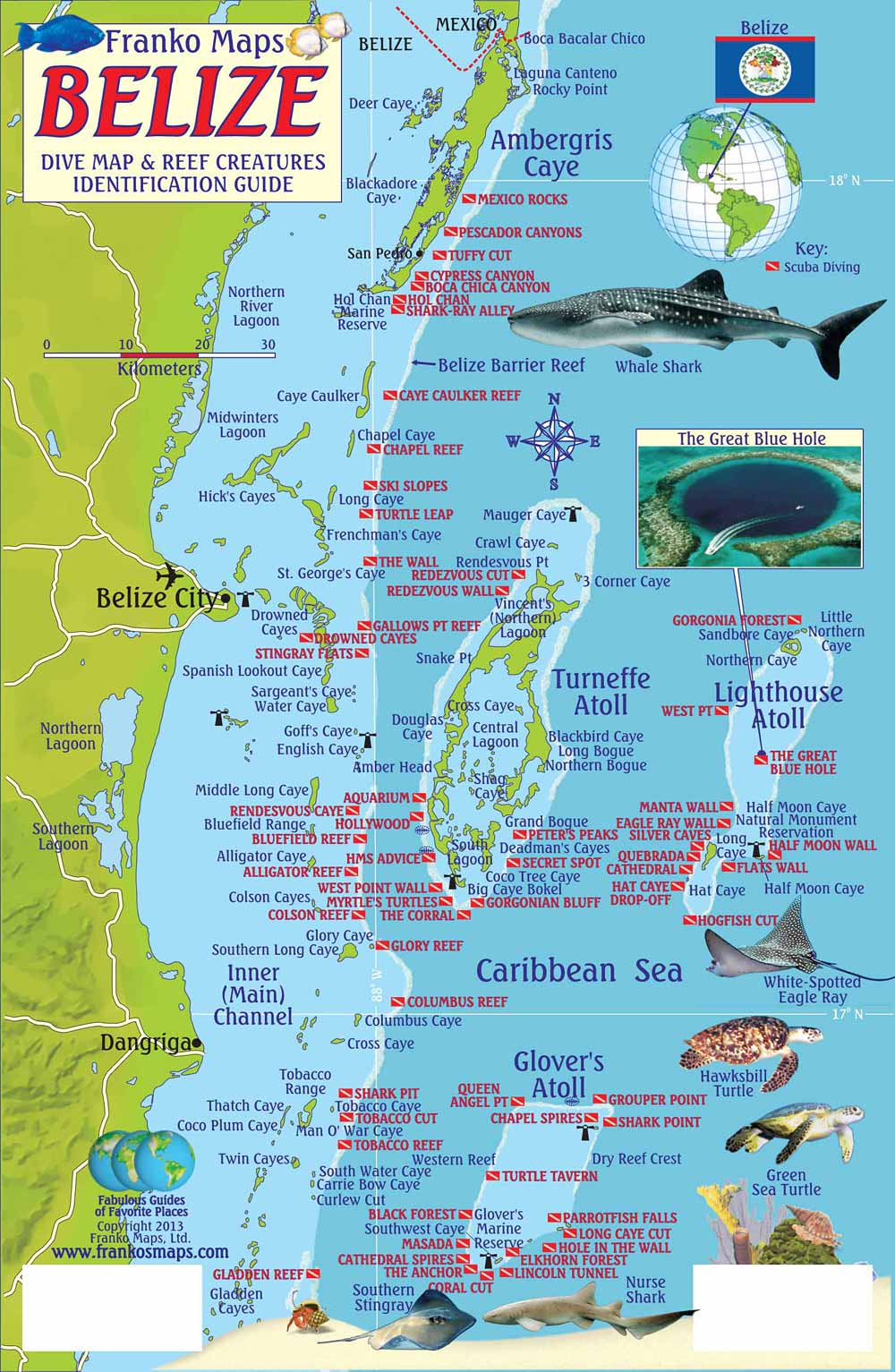 Belize Maps DiveFish ID Cards - Belize map