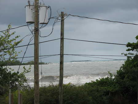 Waves in Placencia before the peak of the storm.