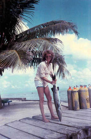 Barb in 84 or 85 with barracuda she caught. Bill & Barb were still tourists then.