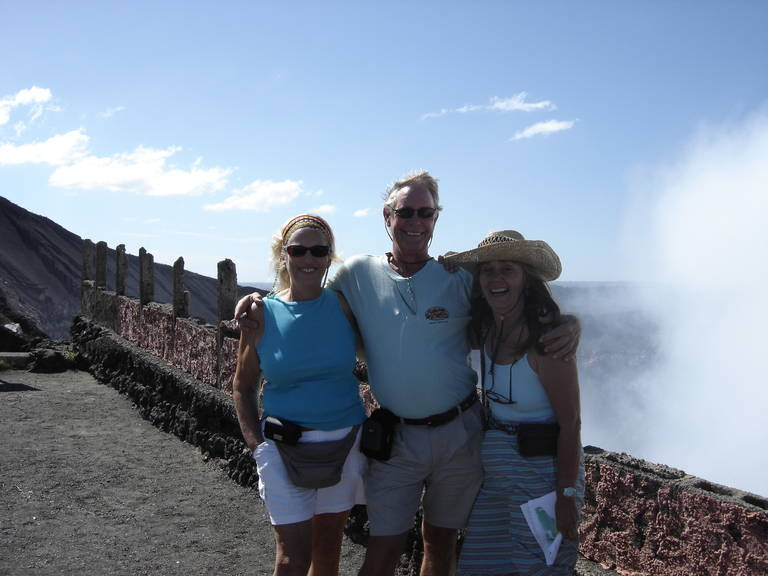 Jim, Sharon and traveling buddy, Shirley  taken outside of Grenada, Nicaragua