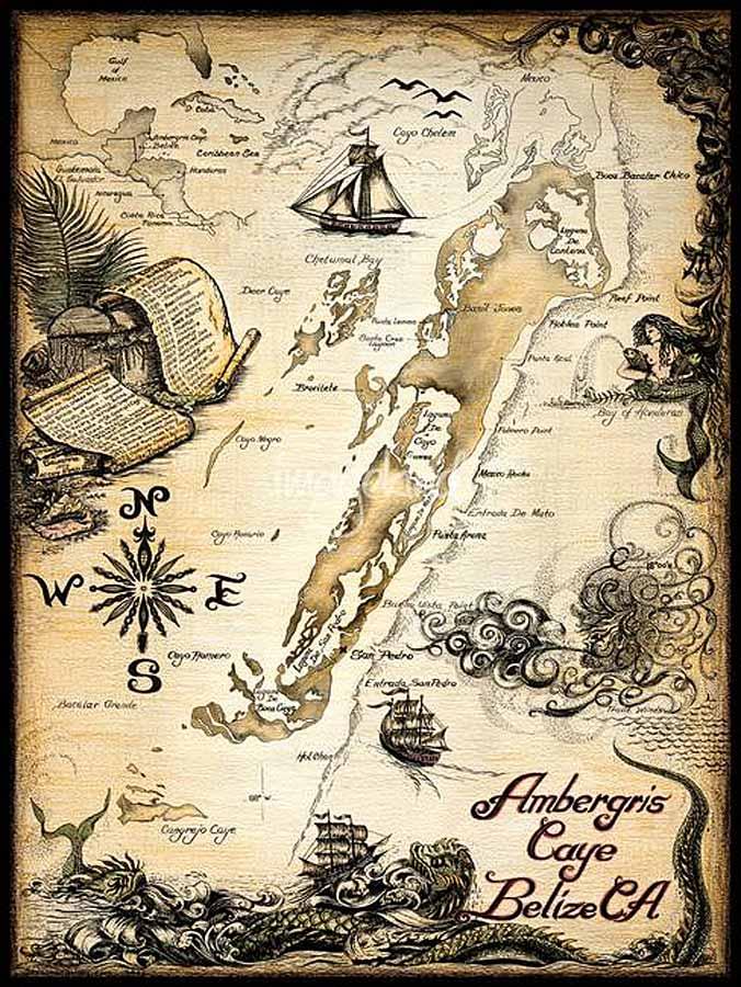 Ambergris Caye Nautical Chart, Belize Maps