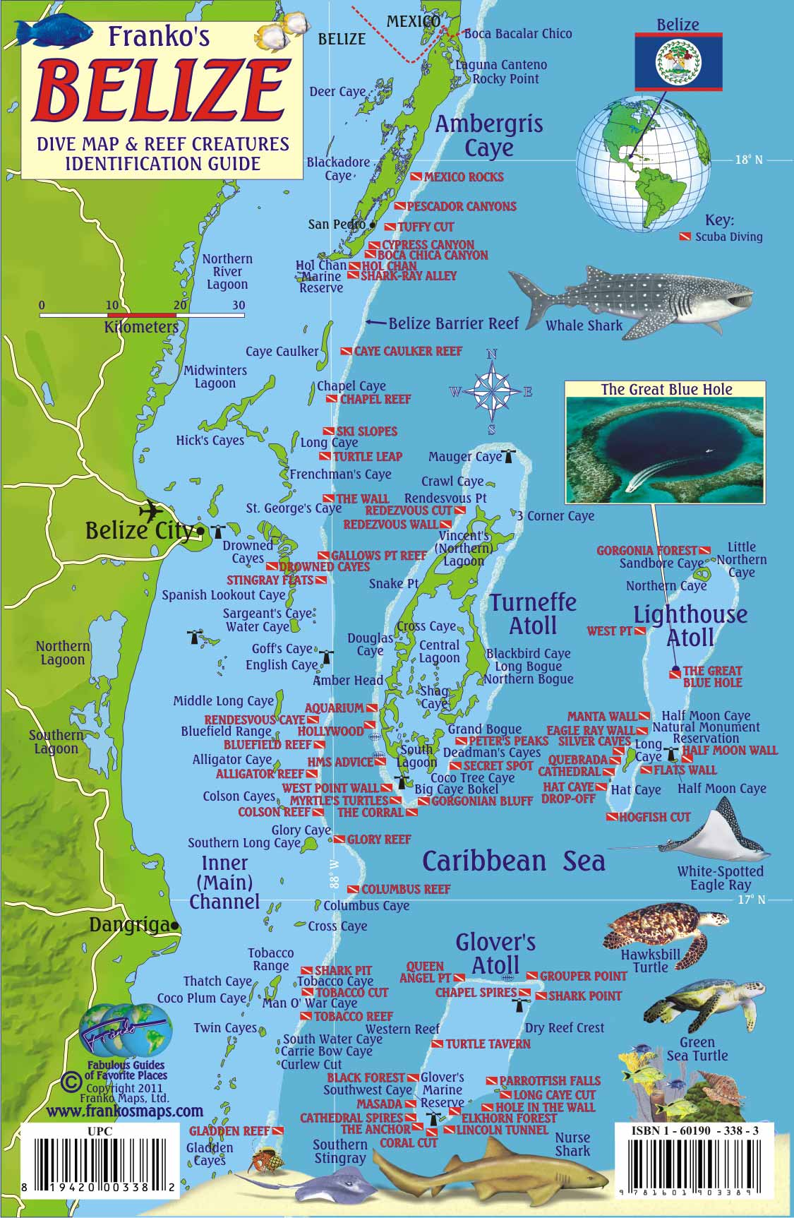Belize Scuba Diving Map And Reef Creature Identification Guide Ambergris Caye San Pedro