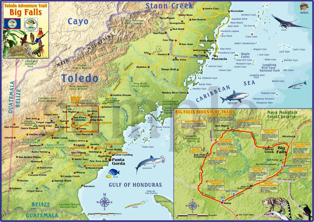 Toledo District Belize Maps