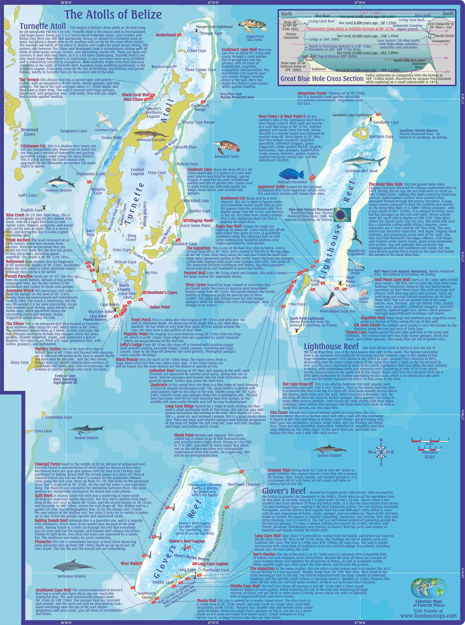 Belize Scuba Diving and Snorkeling on Ambergris Caye Caribbean – Belize Tourist Map