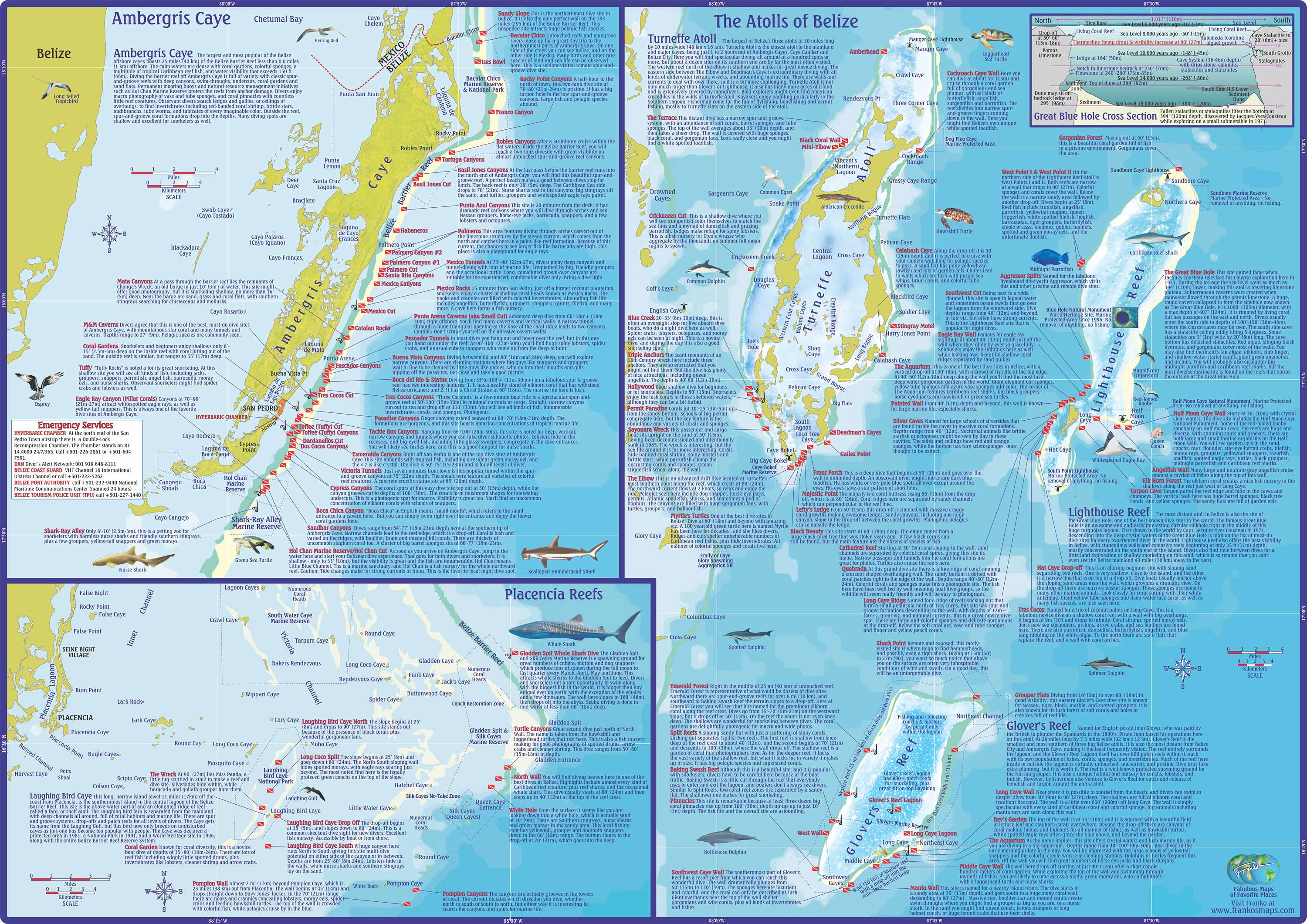 Dive Belize Map and Info on Dive and Snorkeling Sites off – Belize Tourist Map
